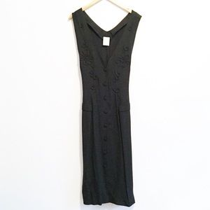 90s button front sleeveless maxi dress embroidery